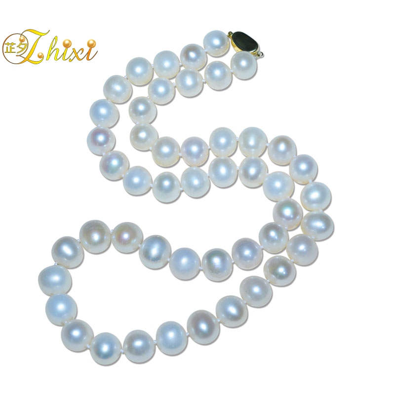 ZHIXI Natural Pearl Jewelry Pearl Necklace 18K Gold Natural Freshwater White Near Round 10-11mm Fine Gift For Women  X258-18KZHIXI Natural Pearl Jewelry Pearl Necklace 18K Gold Natural Freshwater White Near Round 10-11mm Fine Gift For Women  X258-18K