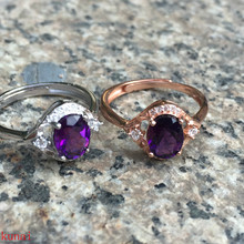 KJJEAXCMY bijoux fins, bijoux, bague diamant violet et argent, 2 couleurs en option