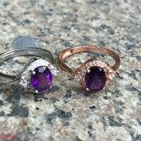 KJJEAXCMY fine jewelry Silver and purple diamond ring jewelry 2 color optional.
