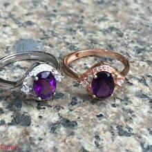 Kjjeaxcmyファインジュエリーシルバーと紫色のダイヤモンドリングジュエリー2カラーオプション。