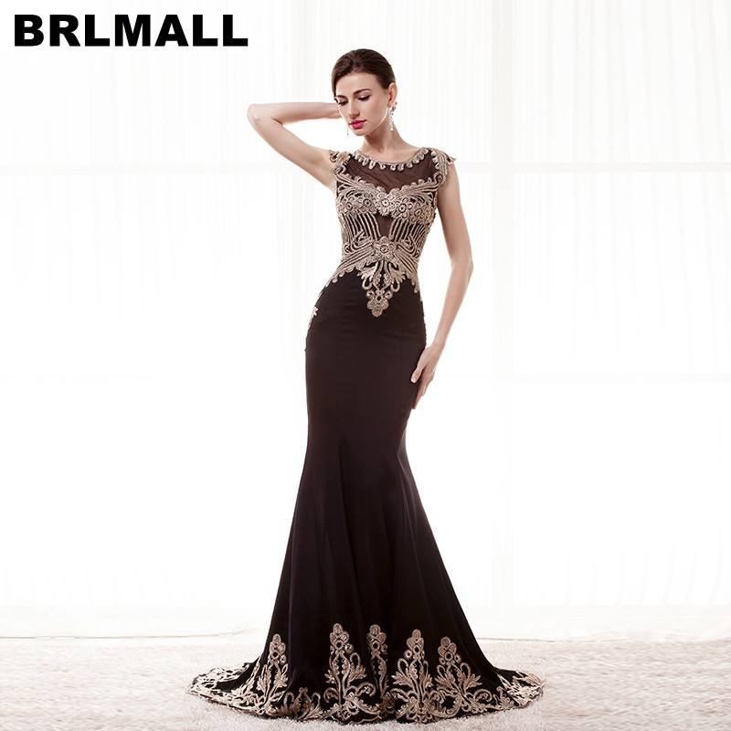 Brlmall Stunning Black Mermaid Evening Dresses Gold Lace