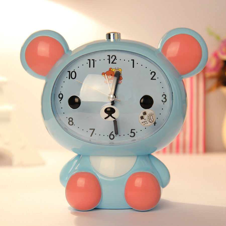 #a night light clock dual alarm clock children cartoon students talking clock small alar ...