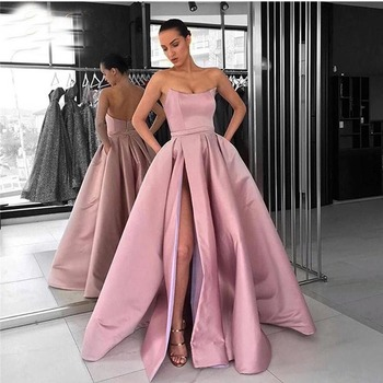 Blush Pink Simple Prom Dress Strapless A-line Satin Front Split Robe De Soiree Custom Made Special Occasion Party Gowns Cheap