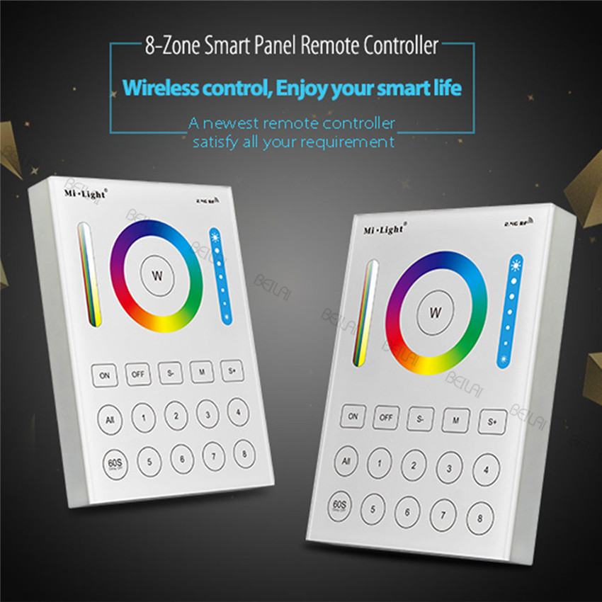 Mi Light 2.4G wireless 8 Zone RF dimmer remote B8 Touch Panel Wall-mounted led controller for RGB / RGBW / RGBWW / RGB+CCT milight wireless ls2 5in1 smart led controller b8 wall mounted touch panel control rgb cct led strip 8 zone rf remote controller