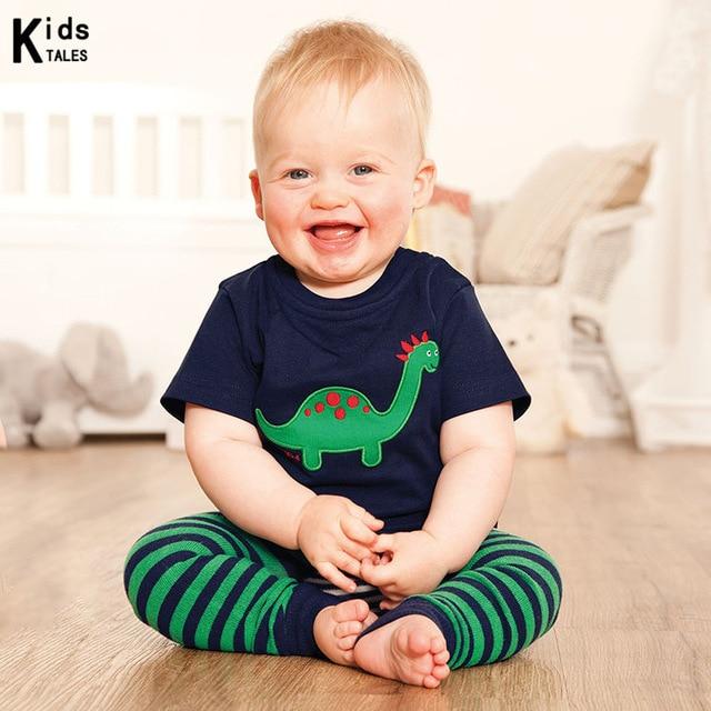 Novo Estilo T-shirts para meninos Trajes das crianças de algodão de manga curta Novidade Projeto do dinossauro imprimir t-shirt do bebê para meninas