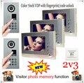 """2v3 Visitor Photo Memory LUXURY Fingerprint/Code unlock 7"""" Video door phone intercom outdoor unit strongest waterproof(IP65)!"""