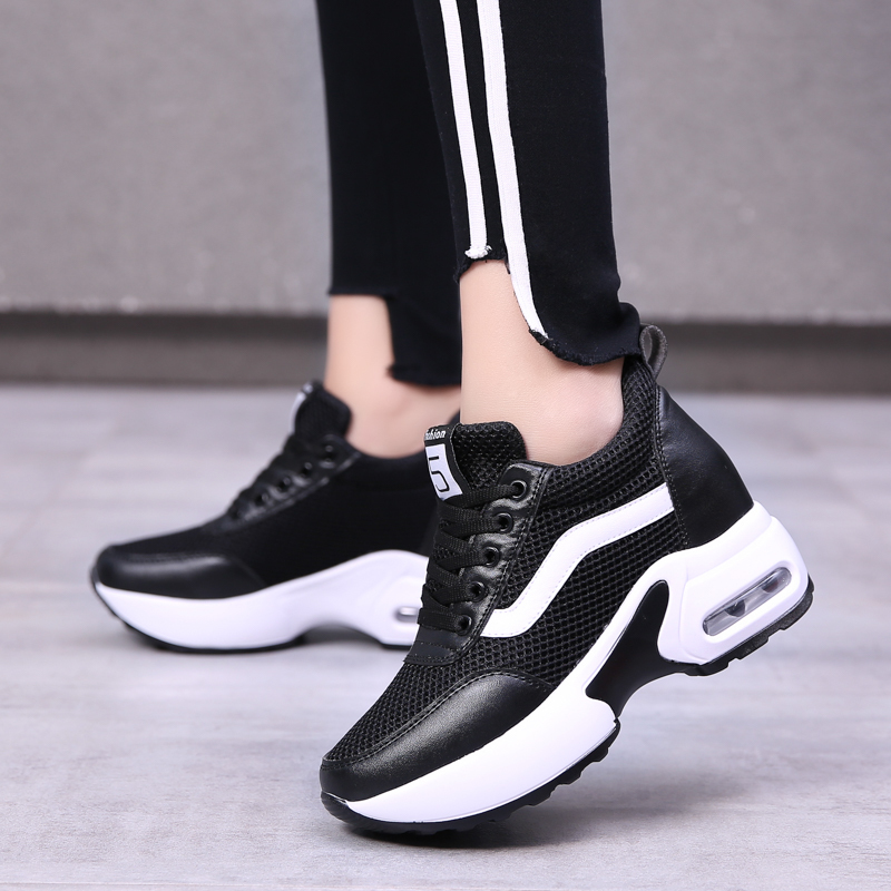 WADNASO Fashion Casual Women Shoes Height Increasing Platform Sneakers Lace Up Breathable Ladies Wedges Shoes Woman XZ111
