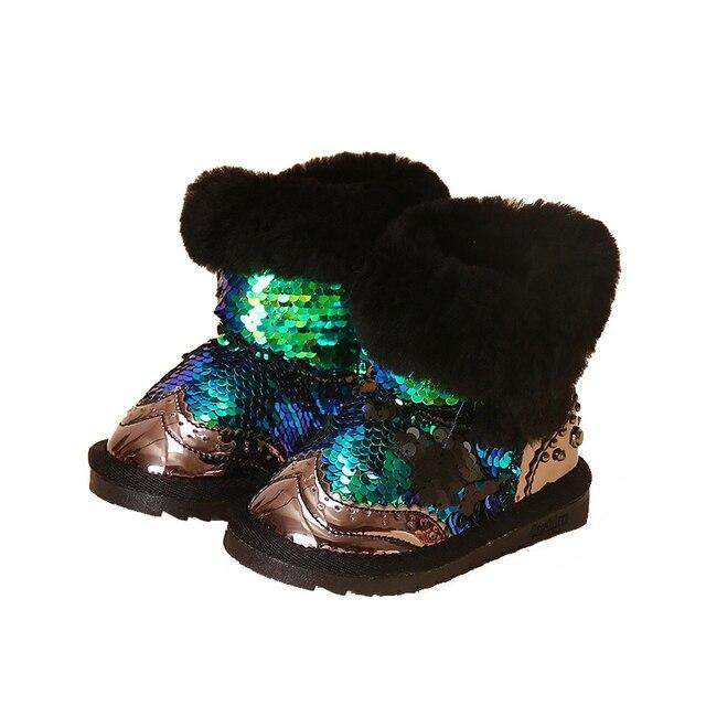 Принцесса девушки снегоступы дети зимние сапоги с мехом bling детей ботинки малыша девушки сапоги
