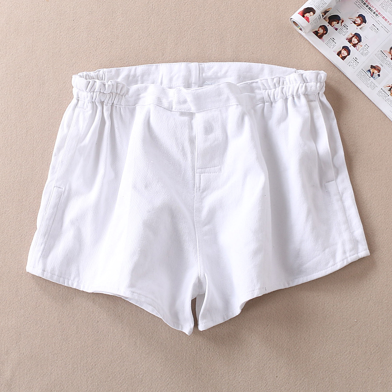 korean fashionWomen Wear Cotton Resistant Canvas Simple Waist Tight Ladies Shorts Summer ...