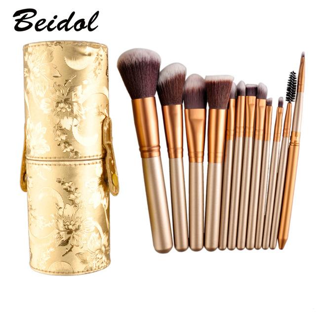 12 unids/set cepillo del maquillaje multiusos pincel de maquillaje fundación face powder sombra de ojos blush brush kits con ronda tube caja