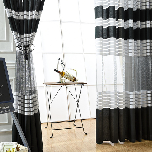 Elegant Black White Polyester Cloth Modern Simple Striped Bedroom Sheer  Window Curtains For Living Room Tulle Curtain