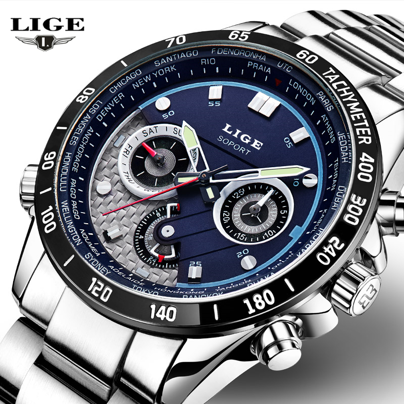 LIGE Quartz Military Sport Watch Men Luxury Brand Casual Watches Men's Wristwatch army Clock full steel relogio masculino 2016 new lige watches men luxury brand sport waterproof quartz watch men full stainless steel wristwatch man clock relogio masculino