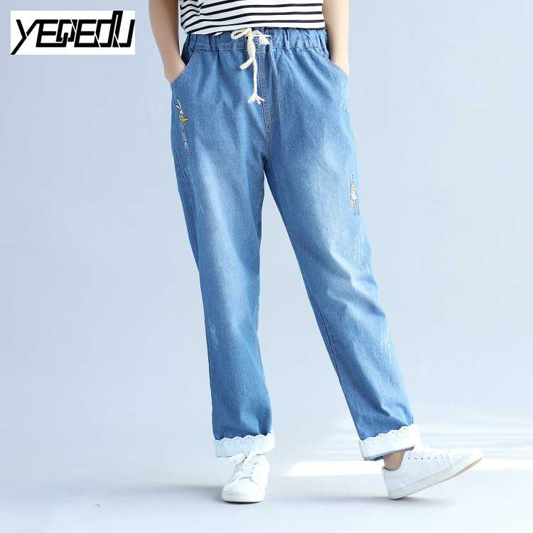 1708 Cartoon Rabbit embroidery jeans women Big size Distressed Vintage Elastic waist Fashion Boyfriend jeans