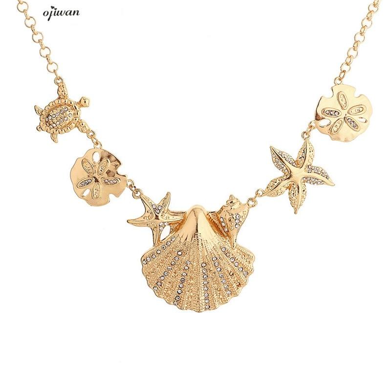 Summer Jewelry Necklace Of Sea Shells Beach Necklace Women Starfish Necklace Turtle Necklace Collier Femme Bijoux Collares Mujer Ожерелье