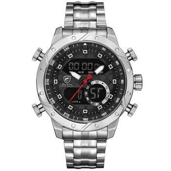 6017be6934ee Snaggletooth tiburón deporte reloj LCD Auto fecha alarma banda de acero  cronógrafo doble de tiempo de