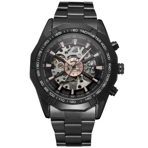 Image 2 - Forsining Fashion Men Skeleton Automatic Mechanical Watch Black Stainless Steel Watch Vintage Mens Watches Relogio Masculino