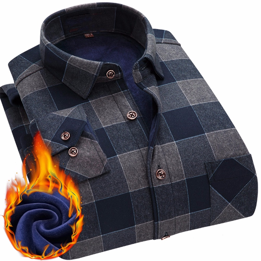 2019 Fashion Men's Winter Warm Plush Slim Shirts 24 Colors Striped Plaid Print Blouse For Men Casual Retro Clothes Size M 5Xl