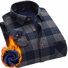 2020 Fashion Mens Winter Warm Plush Slim Shirts 24 Colors Striped Plaid Print Blouse For Men Casual Retro Clothes Size M 5Xl