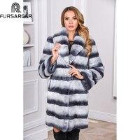 FURSARCAR 2019 красивые Шиншилла класса люкс с мехом кролика теплое пальто Новый Стиль длинная куртка C мехом модные Зимний натуральный мех пальто