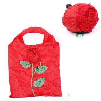 Hot Eco Storage Handbag Rose Flowers shape Foldable Shopping Bags Reusable Folding Grocery Nylon Large Bag Shopping Bags