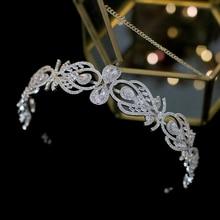 Luxury European fashion bride crown wedding hair accessories headband with zirconia female jewelry hair band