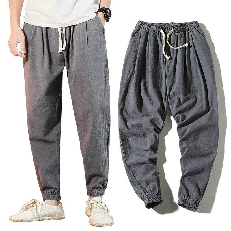2020 Cotton Casual Pants Men Summer Harem Pants Men Ankle-length Joggers Trousers Pantalon