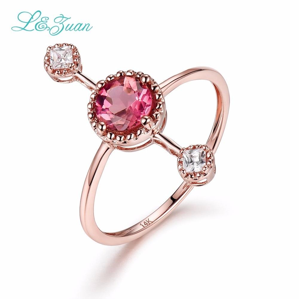 L&Zuan Diamond Jewelry 14K Rose Gold Tourmaline Rings For Women Red - Fine Jewelry