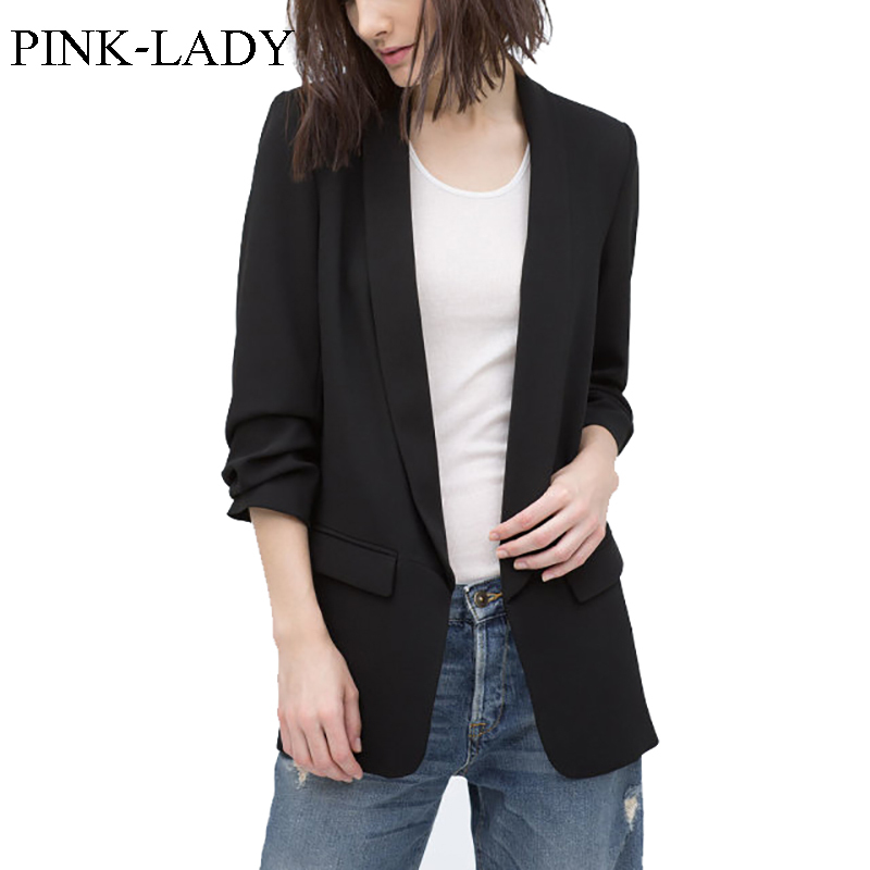 Summer Autumn Jacket Coat Women Thin None Button Plicated 3/4 Sleeve Long Chiffon Blazer Ladies Business Suits Casual Outerwear