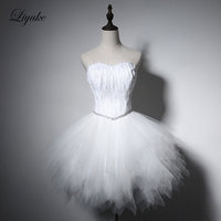 Liyuke Elegant Beatiful Feathers Cocktail Dress Sleeveless Lace Up Knee Length Prom Dress For Cocktail Party