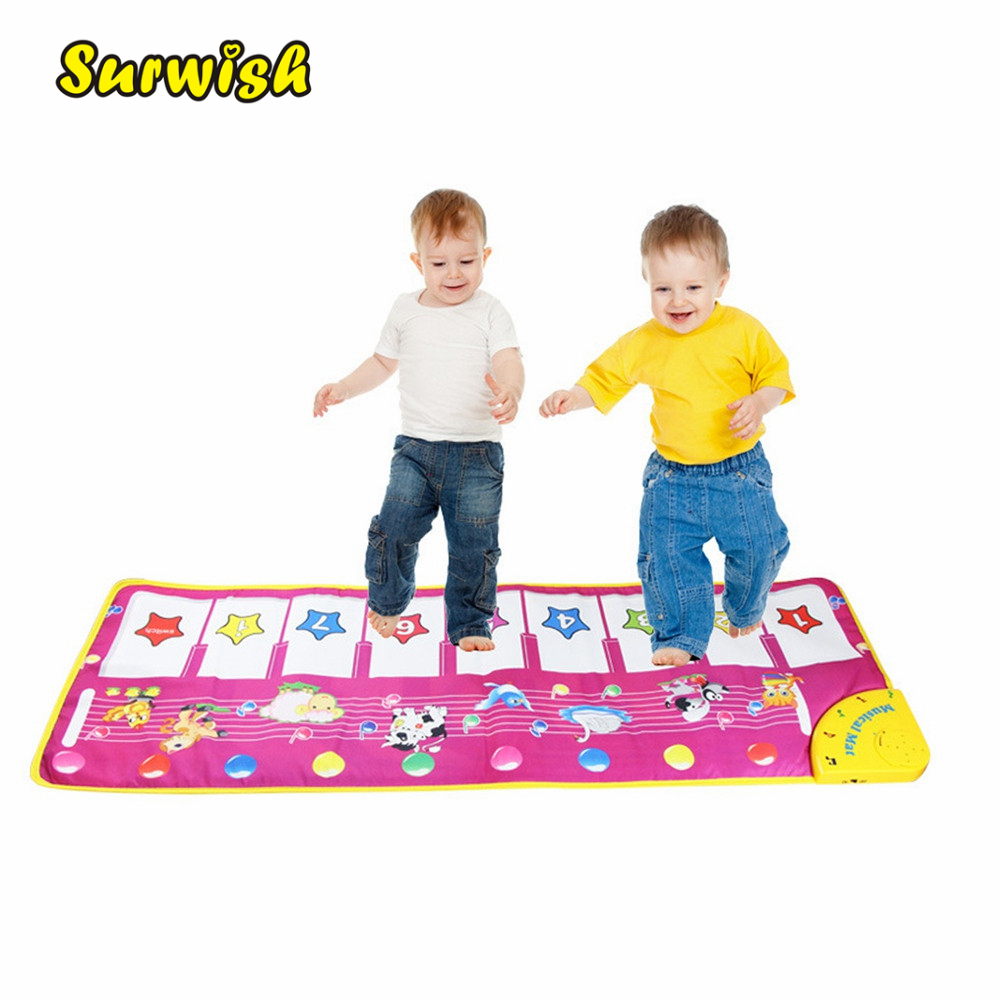 Surwish Animal Pattern Baby Touch Play Keyboard Musical Toys Music Carpet Mat Blanket Early Education Tool Toys Two Version