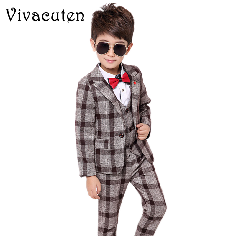 New Boys Formal Suits for Weddings Brand Kids Party Tuxedos Boys Gentlemen Birhtday Dress Blazer Vest Pants Shirt Costume F021