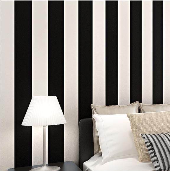 Schwarz Weiß Vertikale Streifen Tapete PVC Decor Moderne Wand Wohnzimmer