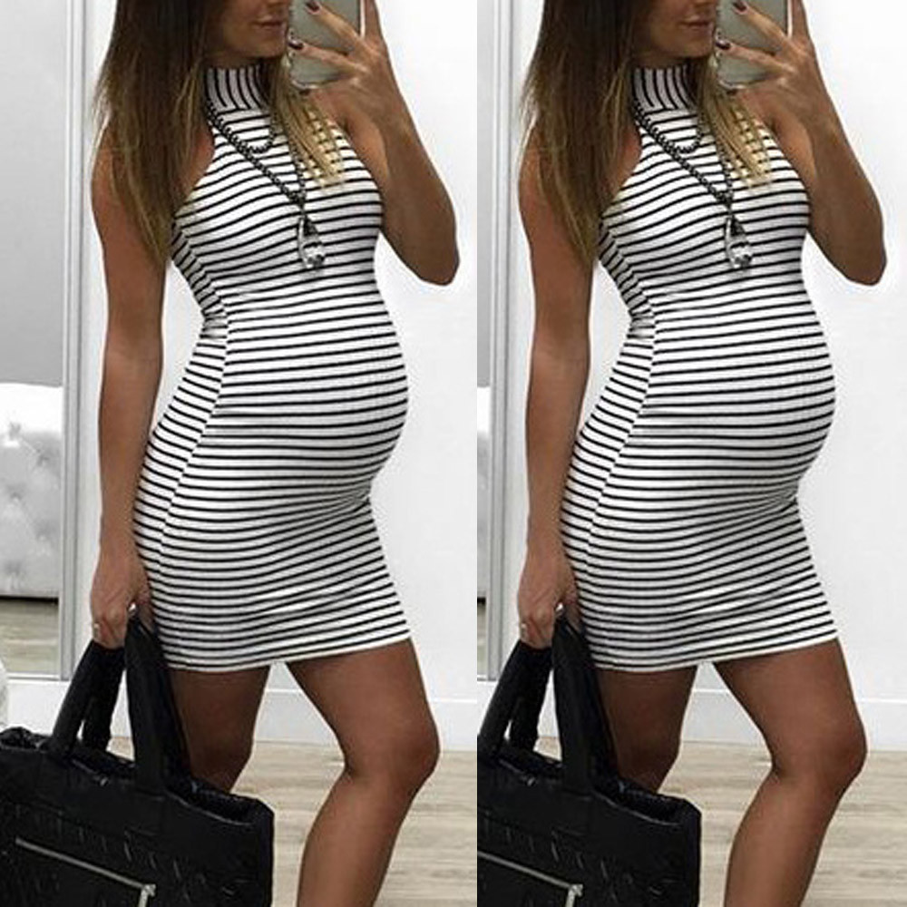 Womens Maternity Dress Pregnants Nursing Baby For Maternity Stripe Sexy Pregnancy Mini Dress Clothing Mother Home Clothes vestid 4