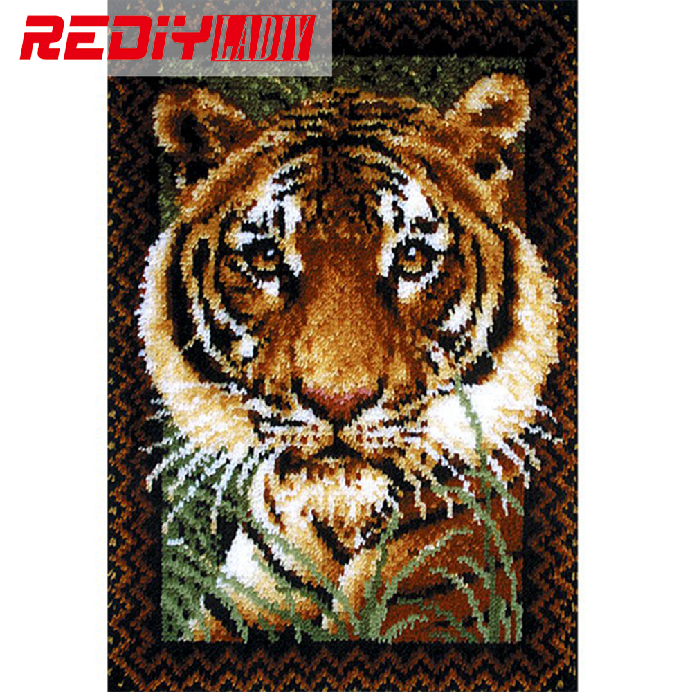 DIY Carpet Rug King Of Tiger Latch Hook Rug Kits 3D