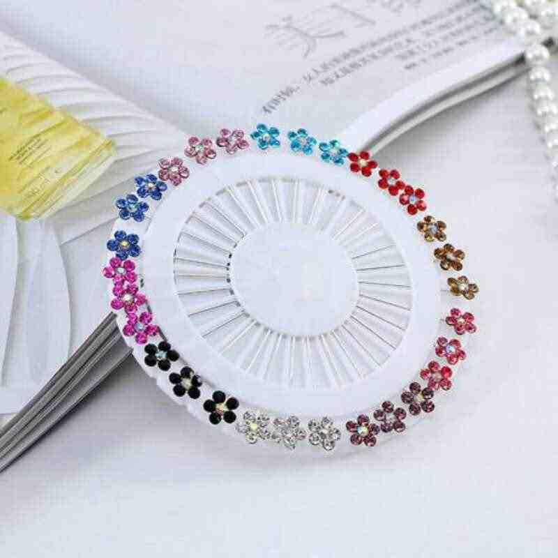 Menawarkan Sampel Daftar memilih Designes Baru Jilbab Pin Grosir Sampel 30 Pcs/set Bola Kristal Muslim Jilbab Broocheswomen Abaya K
