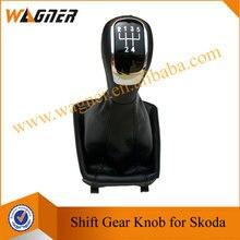 WAGNER Schwarz Leder Boot 5/6 Getriebe Auto Schaltknauf abdeckung für Skoda Superb 3 T MKII (08-12)