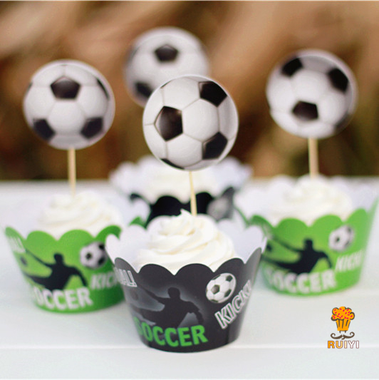 24pcs Soccer football cupcake wrapper case kids birthday decoration