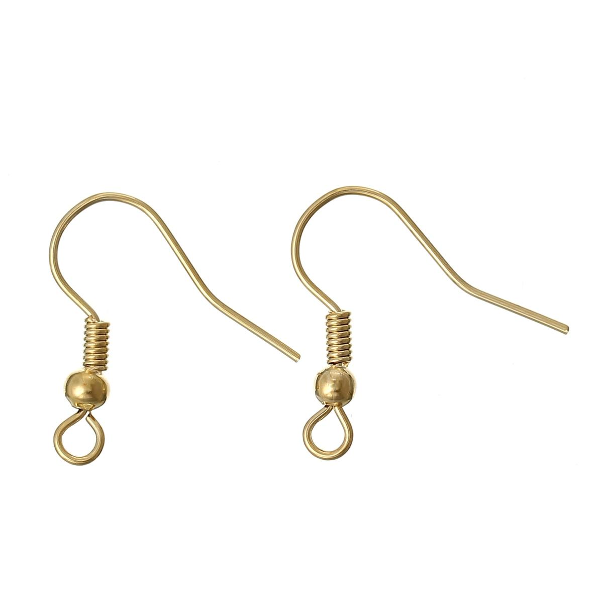 Copper Earrings Earring Findings Hook 18K Gold Color 18mm( 6/8