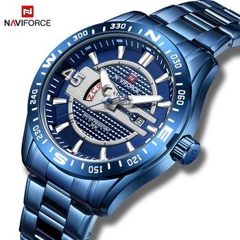 NAVIFORCE 9157 Men Watch Sport Waterproof Wristwatch Military Business Stainless Steel Quartz Male Clock Gift box
