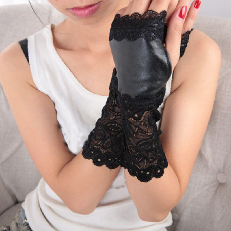 Women PU Leather Gloves Sexy Black Lace Patchwork Winter Warm Gloves Ladies Fingerless Gloves Long False Sleeves Guantes Mujer