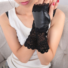 Women PU Leather Gloves Sexy Black Lace Patchwork Winter War