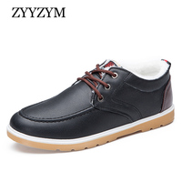 ZYYZYM 남성 신발 따뜻한 겨울 뜨거운 판매 패션 트렌드 레이스 업 스타일 추가 봉제 플랫 남자 캐주얼 신발