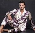 silk Black Pajamas Set New Design Men Lounge Gowns Printed Hot Sale Europe America Style Nightgown Pajamas