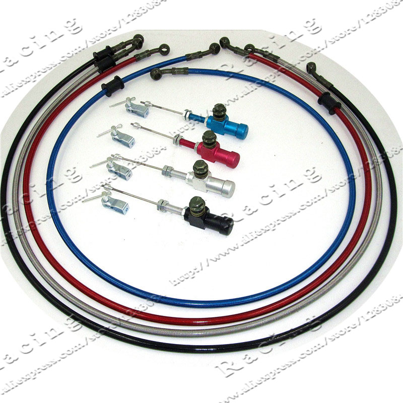 ФОТО 1200mm Colorful Motorcycle Hydraulic Reinforced Brake Or Clutch Oil Hose Line With master cylinder rod efficient transfer pump