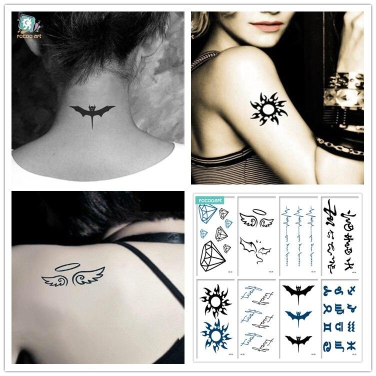 Hc Mezcla 8 Hojas De Tatuajes Clásicos Con Diamantes De Murciélago