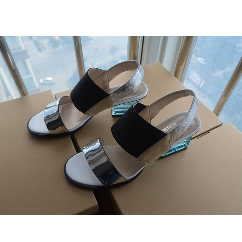 Women Sandals Summer Mixed Color Basic Sandals Women Transparent Square Heel Female High Heels Shoes Women HL30 MUYISEXI