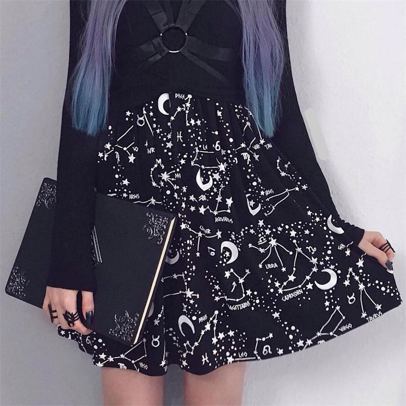 InstaHot Star Printed Pleated Gothic Skirts Women High Waist Punk Black Mini Constellation Rock Moon Sexy Club Outfits