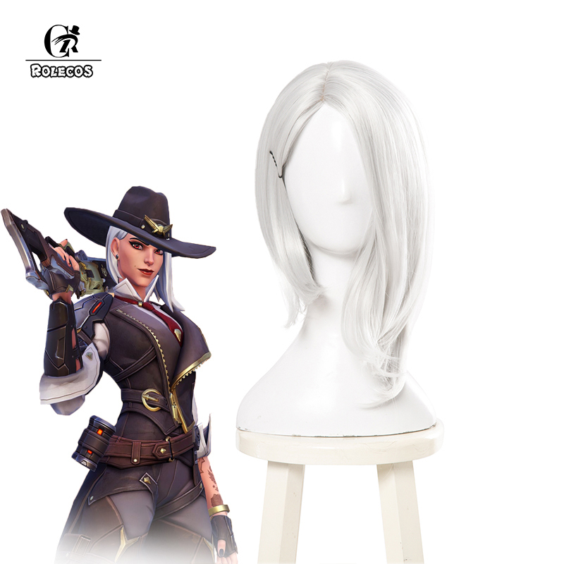 ROLECOS Over Game Watch Ashe Cosplay Hair OW Synthetic Hair Ashe Cosplay   Headwear   35cm Silvery Short Hair for Women