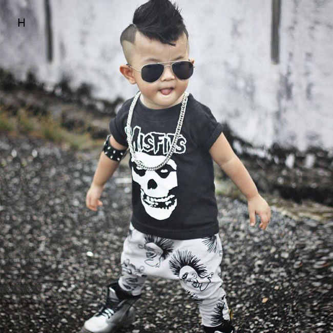 ee1ed7b70 ... 1st Birthday Outfits For Baby Boy Girl 2PC Set Clothes Skull T Shirt  Top+Harem ...