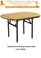 Folding Square Round Banquet Table Plywood 18mm With PVC White Top Steel Folding Leg 2pcs Carton